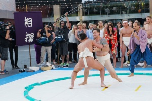 "THE BACHELORETTE - ""Episode 1103"" - Six men learn that they will be taught the ancient Japanese sport of sumo wrestling, and Kaitlyn is there just in time to catch her guys wearing sumo belts, the traditional garb that barely covers their ""package."" But one intense man is upset about this choice of sport. Will he decide to sit this one out? Will his attitude spoil the fun or will Kaitlyn be able to reason with him and get him back in the fold?  At the after party, another man decides his expectations aren't being met. And a frontrunner wants to make sure that the Bachelorette knows that he has never fallen so quickly for someone. Who will have earned the date rose? - on ""The Bachelorette,"" MONDAY, JUNE 1 (8:00-10:01 p.m., ET), on the ABC Television Network. (ABC/Rick Rowell) JOE, JJ, KAITLYN BRISTOWE, CLINT, SHAWN B."